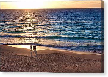Morning Walk On The Beach Canvas Print
