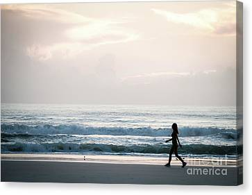 Morning Walk With Color Canvas Print
