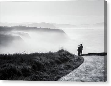 Morning Walk With Sea Mist Canvas Print