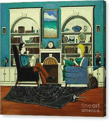 Morning With The Cats While Sitting In Chairs Canvas Print by John Lyes