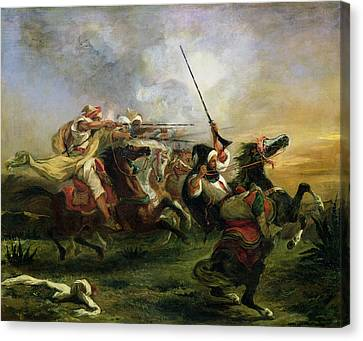 Victor Canvas Print - Moroccan Horsemen In Military Action by Ferdinand Victor Eugene Delacroix