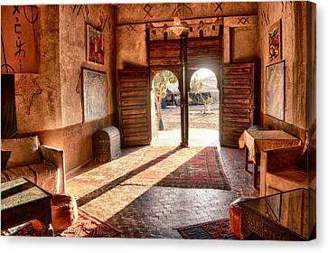 Canvas Print featuring the tapestry - textile Moroccan Kasbah by Kathy Adams Clark