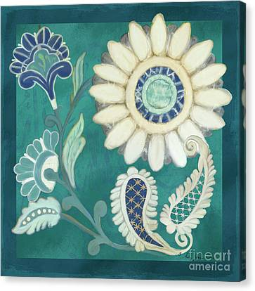 Canvas Print featuring the painting Moroccan Paisley Peacock Blue 2 by Audrey Jeanne Roberts