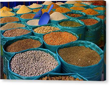 Canvas Print featuring the photograph Moroccan Spice Market by Ramona Johnston