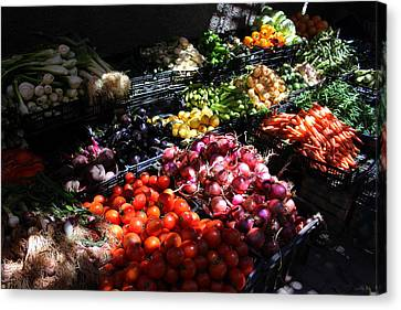 Canvas Print featuring the photograph Moroccan Vegetable Market by Ramona Johnston