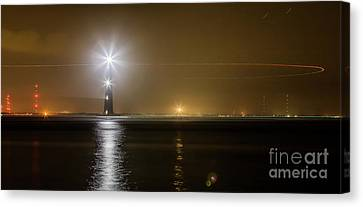 Morris Island Light House 140 Year Anniversary Lighting Canvas Print by Dustin K Ryan