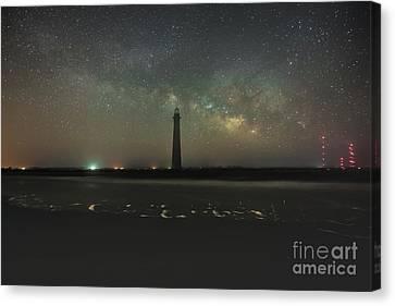 Morris Island Light House Milky Way Canvas Print by Robert Loe
