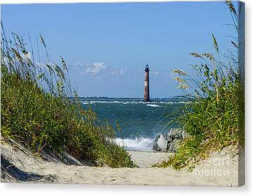 Morris Island Lighthouse Walkway Canvas Print by Jennifer White