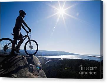 Morro Bay Biker Canvas Print by Bill Brennan - Printscapes