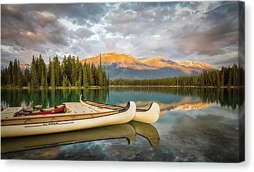 Jasper Lake Canoes Canvas Print