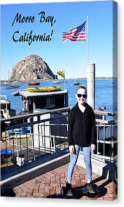 Morro Bay Cutie Pie On An Electric Skate Board Canvas Print by Floyd Snyder