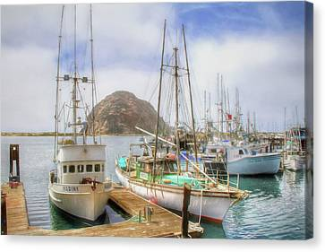 Canvas Print featuring the photograph Morro Bay Rock And Marina by Donna Kennedy