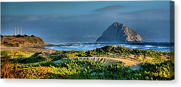 Morro Rock And Beach Canvas Print by Steven Ainsworth
