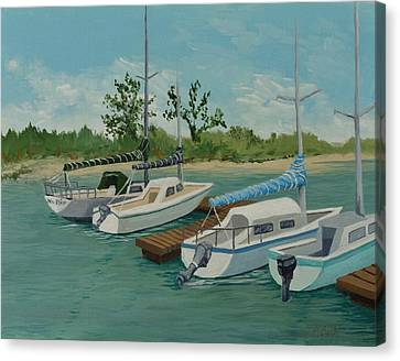 Canvas Print featuring the painting Morro Bay State Park Ca by Katherine Young-Beck