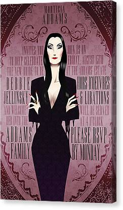 Morticia Addams Bridal Shower Invite Canvas Print by Christopher Ables