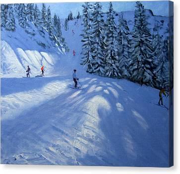 Morzine Ski Run Canvas Print by Andrew Macara