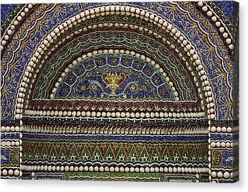 Getty Canvas Print - Mosaic And Shell Fountain Getty Villa Malibu California by Teresa Mucha