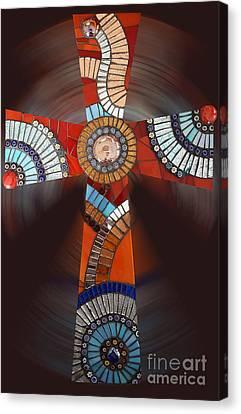 Mosaic Cross #2 Canvas Print by Adriana Zoon