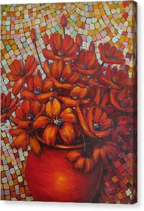 Mosaic Flowers Canvas Print by Mirjana Gotovac
