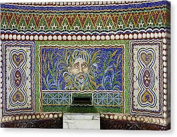 Mosaic Fountain At Getty Villa 3 Canvas Print by Teresa Mucha