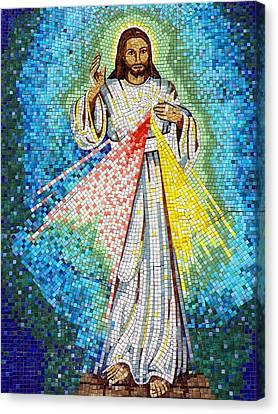 Mosaic Of Christ Rising Canvas Print by Joseph Frank Baraba
