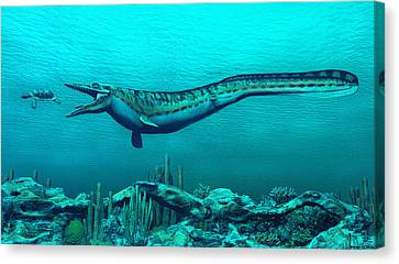Mosasaurs Canvas Print by Walter Colvin