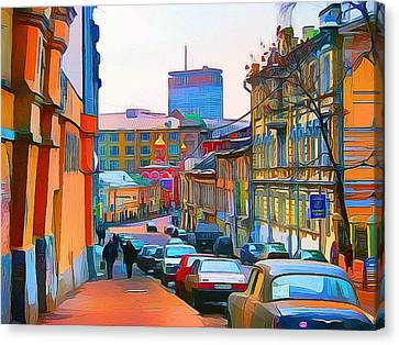 Moscow Center Streets 11 Canvas Print by Yury Malkov