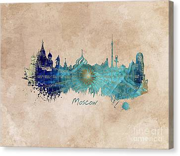 Moscow Skyline Wind Rose Canvas Print by Justyna JBJart