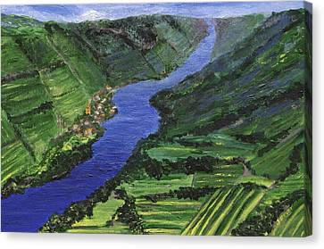 Canvas Print featuring the painting Moselle River by Jamie Frier