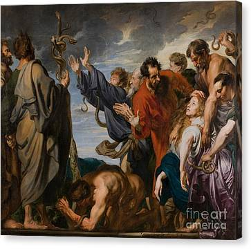 Moses And The Brazen Serpent Canvas Print by Anthony Van Dyck