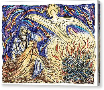 Moses And The Burning Bush Canvas Print by Brent Kastler