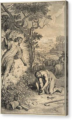 Moses And The Burning Bush Canvas Print by Gerard Hoet