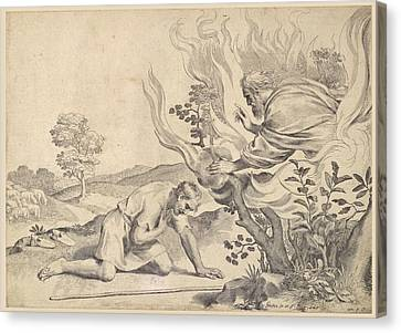 Moses Before The Burning Bush Canvas Print by Claude Mellan
