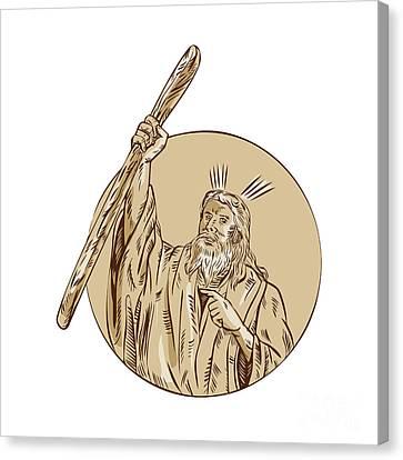 Moses Raising Staff Circle Etching Canvas Print by Aloysius Patrimonio