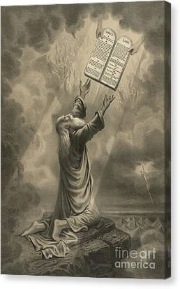 Moses Receiving The Ten Commandments Canvas Print by Science Source