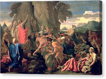 Moses Striking Water From The Rock Canvas Print by Nicolas  Poussin