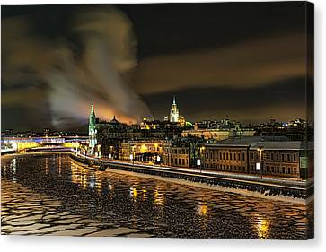 Canvas Print featuring the photograph Moskva River by Gouzel -