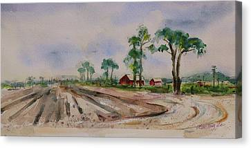 Canvas Print featuring the painting Moss Landing Pine Trees Farm California Landscape 2 by Xueling Zou