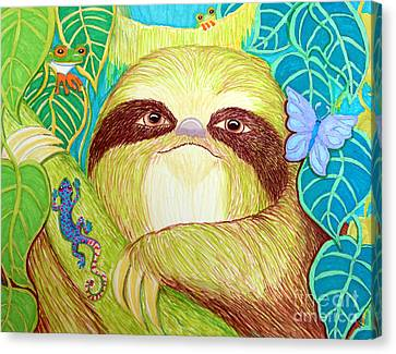 Mossy Sloth Canvas Print by Nick Gustafson