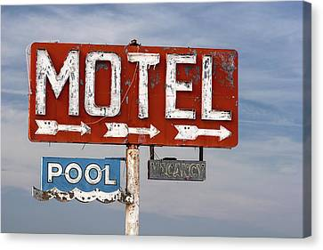 Canvas Print featuring the photograph Motel And Pool Sign Route 66 by Carol Leigh