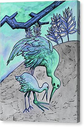 Mother And Baby Crane Abstract In Green Canvas Print
