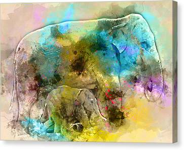 Mother And Baby Elephant Animal Decorative Poster  7 - By Diana Van Canvas Print