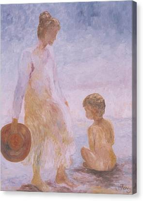 Mother And Baby On The Beach Canvas Print