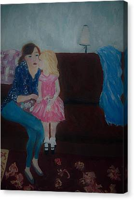 Canvas Print featuring the painting Mother And Child, by Aleezah Selinger