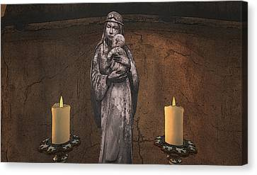 Burning Statue Canvas Print - Mother And Child by Brainwave Pictures