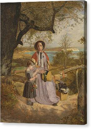 Mother And Child By A Stile, With Culver Cliff, Isle Of Wight, In The Distance Canvas Print