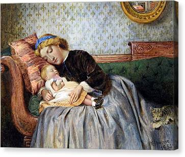 Mother And Child Canvas Print by George Goodwin Kilburne