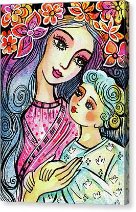 Canvas Print featuring the painting Mother And Child In Blue by Eva Campbell