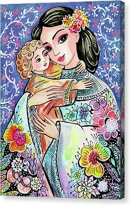 Canvas Print featuring the painting Woman And Child In Flowers by Eva Campbell