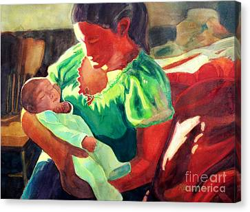 Canvas Print featuring the painting Mother And Child In Red2 by Kathy Braud